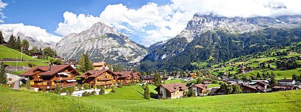 Grindelwald Village Panorama stock photo