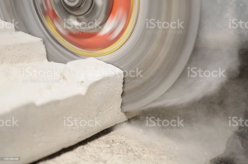Grinder Cutting Concrete Block royalty-free stock photo