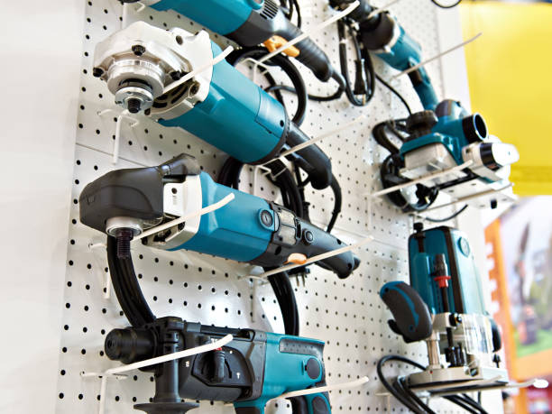 Grinders and drills in store stock photo