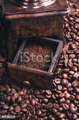 842365806 istock photo Grinding Coffee Manually 842363420