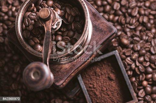 842365806 istock photo Grinding Coffee Manually 842365970