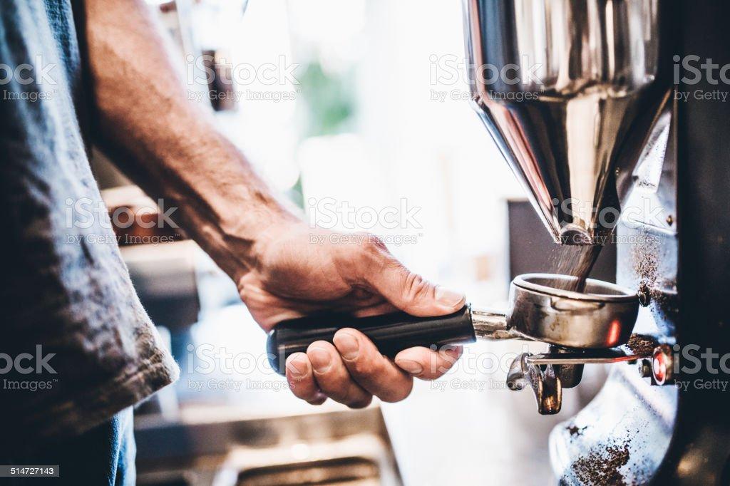 Grinding Espresso Beans stock photo