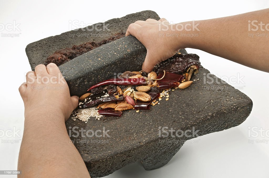 """Grinding ingredients to prepare the traditional mexican """"mole"""" stock photo"""