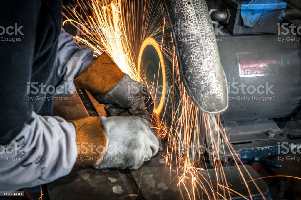 cutting grinding metal sparks