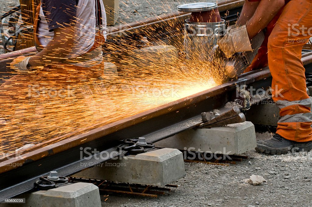 Grinding of the weld of the railroad track stock photo
