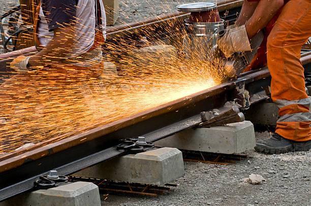 Schleifen der weld der railroad track – Foto