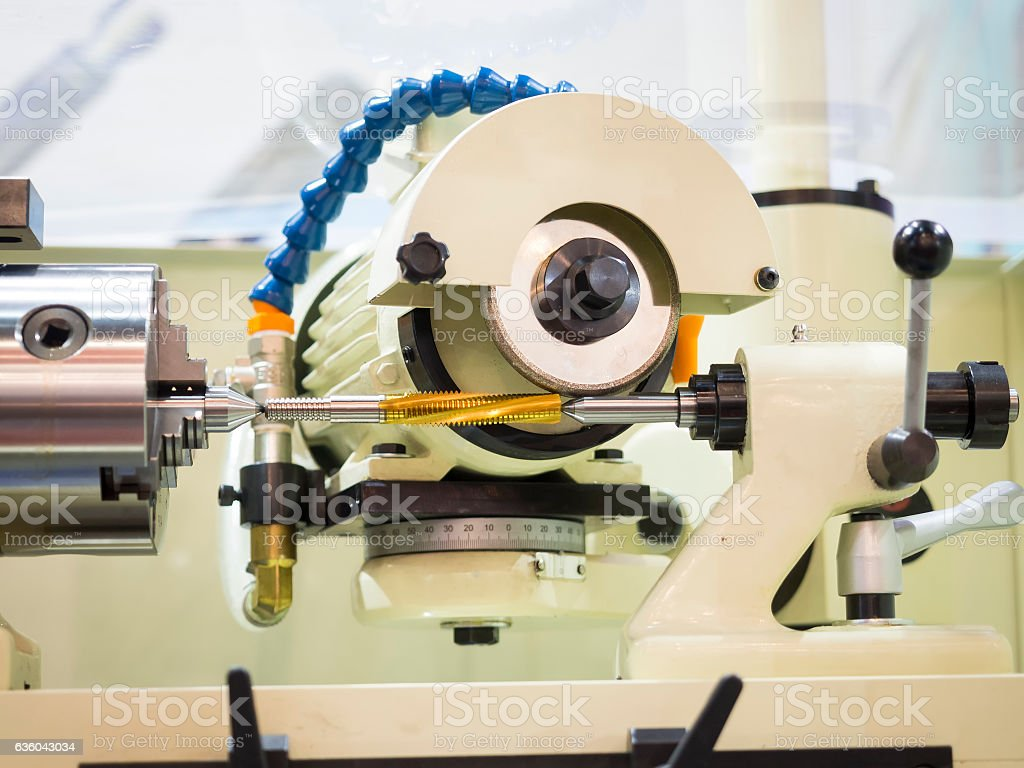 grinding Spiral carbide tapping tool stock photo