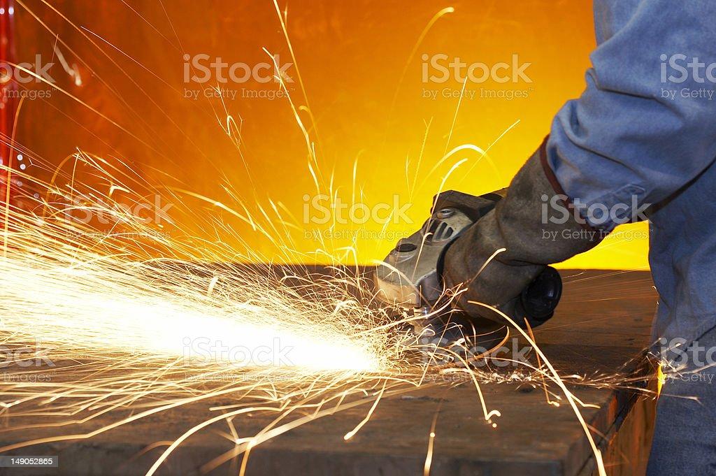 grinding steel stock photo