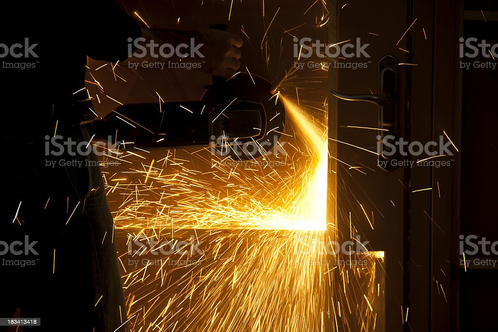 Grinding steel stock photo