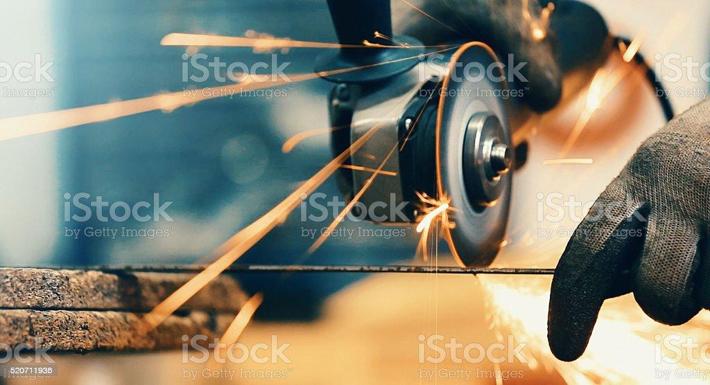 Grinding steel rod. stock photo