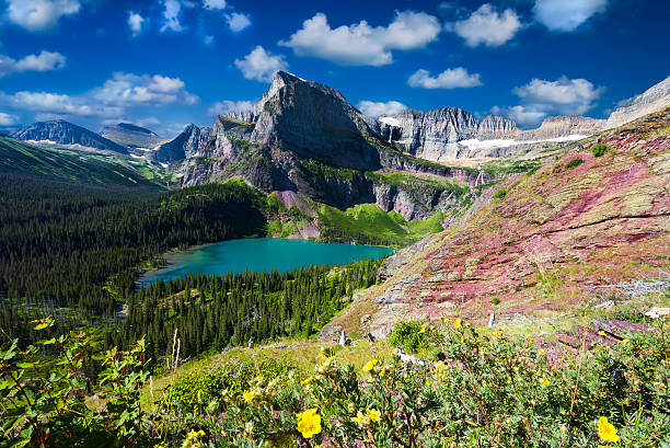 grinnell glacier trail - us glacier national park stock pictures, royalty-free photos & images