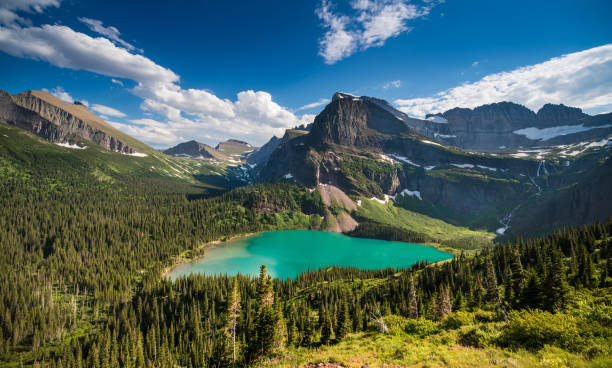 grinnell lake in glacier national park - us glacier national park stock pictures, royalty-free photos & images