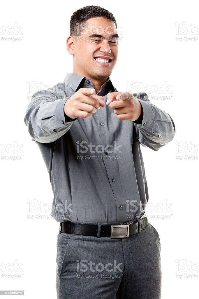 Grinning Young Man Pointing At Camera royalty-free stock photo