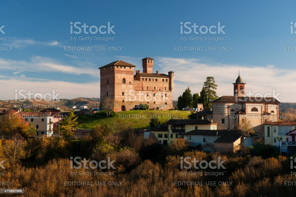 Grinzane Cavour castle, sunny day, Piedmont, Italy royalty-free stock photo