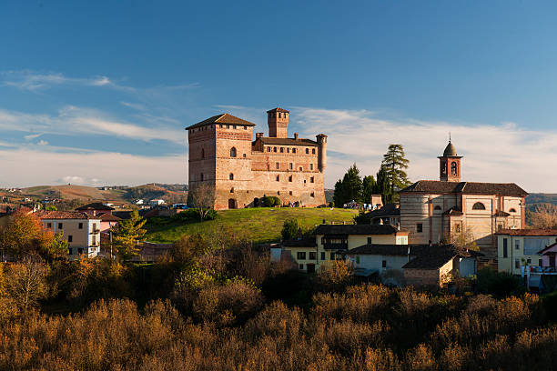 Grinzane Cavour castle, sunny day, Piedmont, Italy stock photo