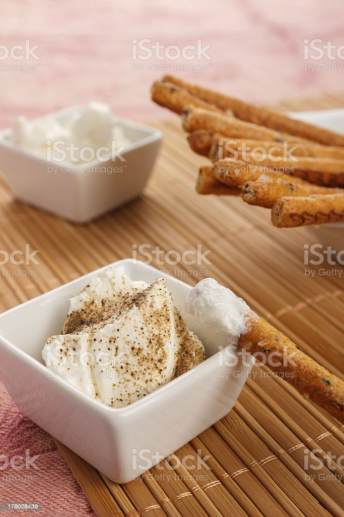 Grissini and fresh cheese royalty-free stock photo
