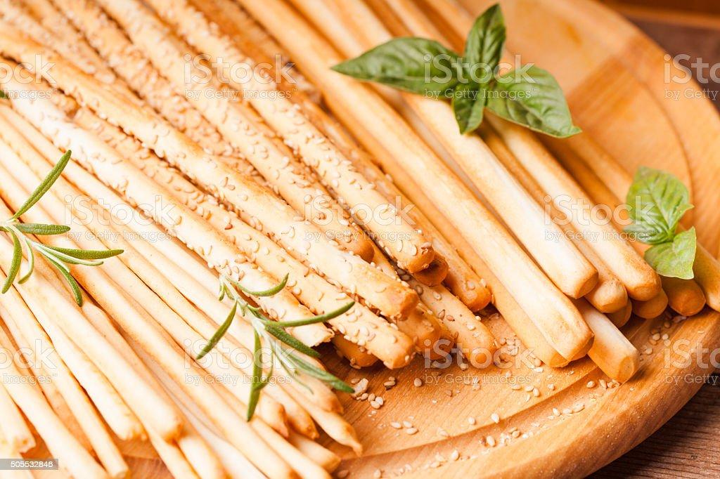 Grissini bread sticks stock photo
