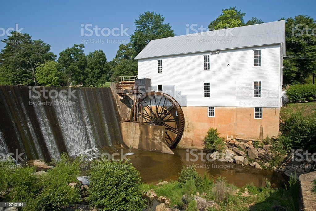 Grist Mill and Water Falls royalty-free stock photo