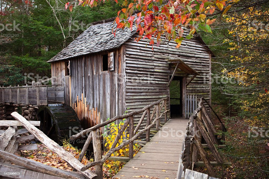 Grist Mill in Autumn stock photo