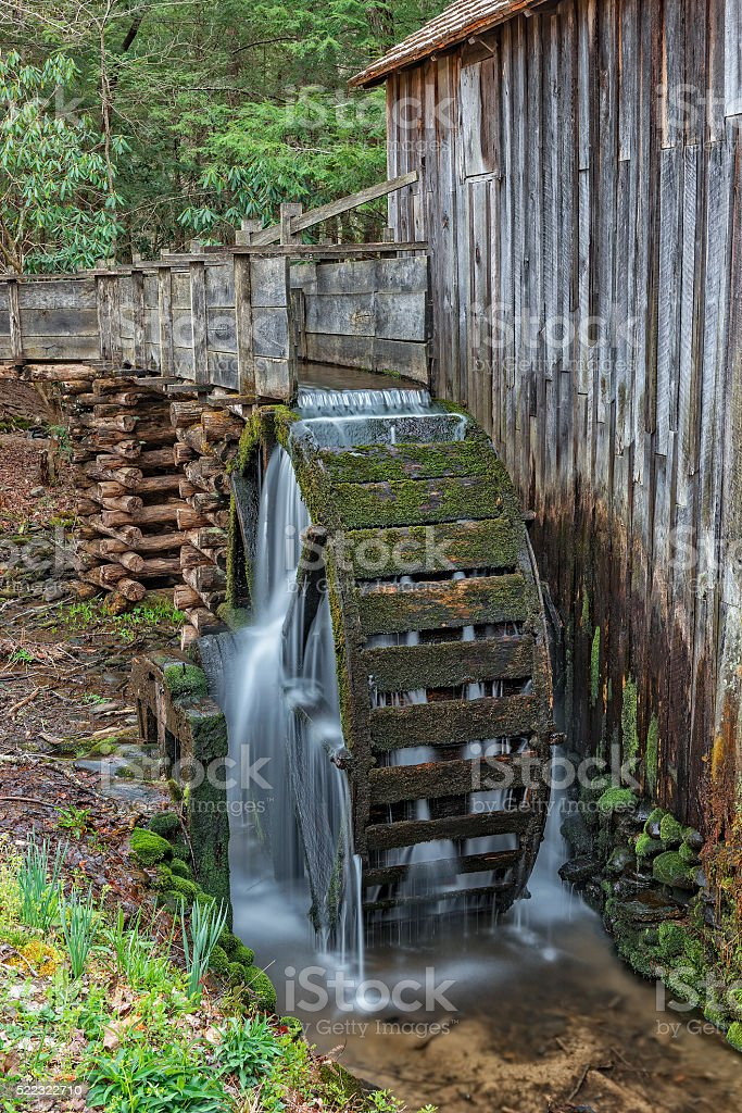 Grist Mill Water Wheel In Cades Cove stock photo