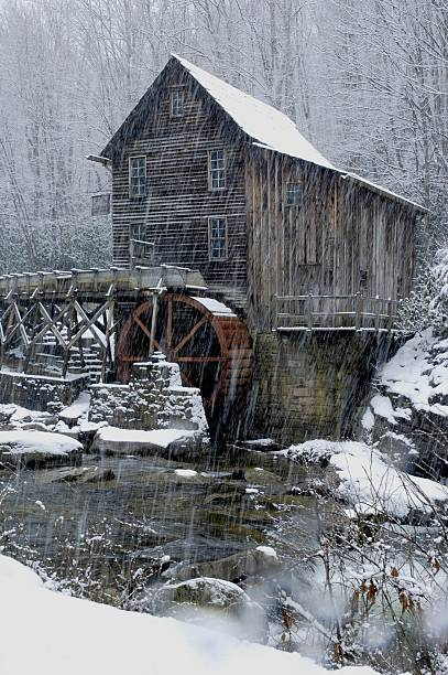 Grist Mill Winter The famous Grist Mill in West Virginia in the off season. babcock state park stock pictures, royalty-free photos & images