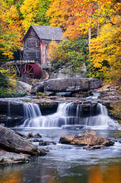 Gristmill and autumn foliage stock photo