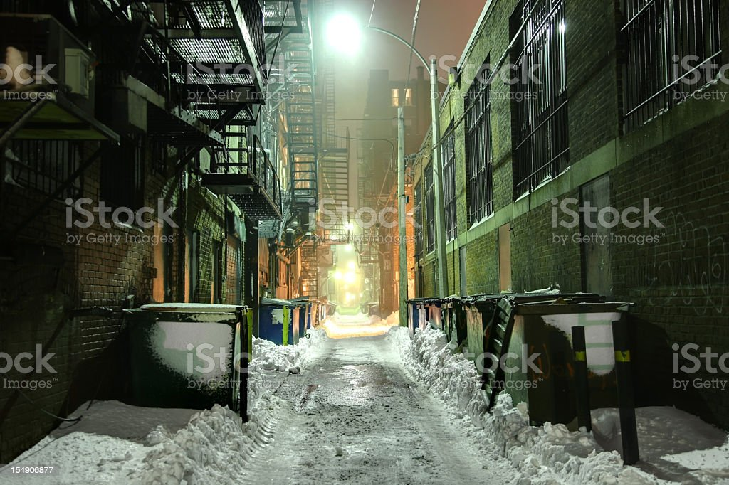Gritty Alleyway in Winter royalty-free stock photo