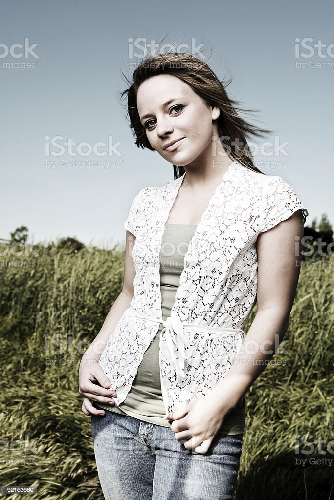 Gritty Blonde in a Field royalty-free stock photo