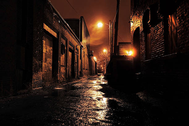 Gritty Dark Urban Alleyway Long dark gritty alley between two old derelict buildings at night. Rain sodden pavement with eerie mist. Brickwork walls frame the ominous and dangerous inner city alleyway alley stock pictures, royalty-free photos & images