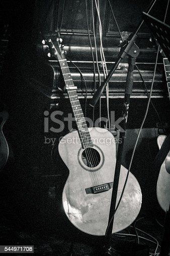 istock Gritty image of an acoustic guitar resting against a piano 544971708
