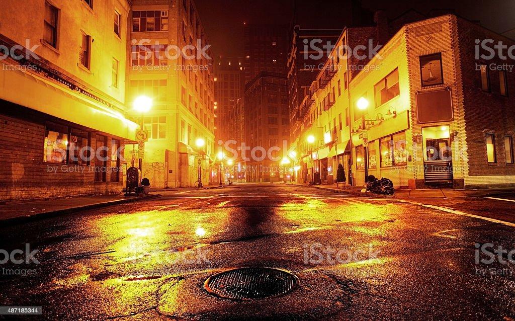 Gritty Urban Street in the Chinatown Neighborhood of Boston stock photo