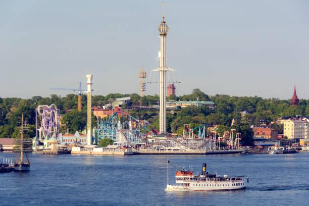 gröna lund amusement park - stockholm, sweden - ferry lake sweden bildbanksfoton och bilder