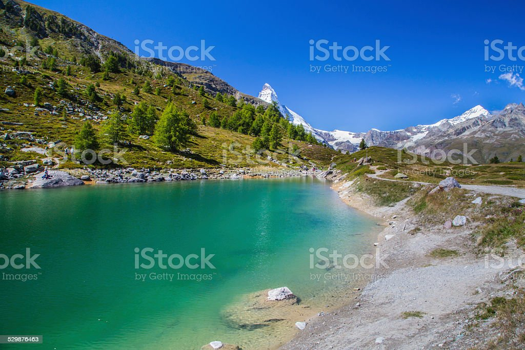 Grünsee in the Swiss Alps stock photo