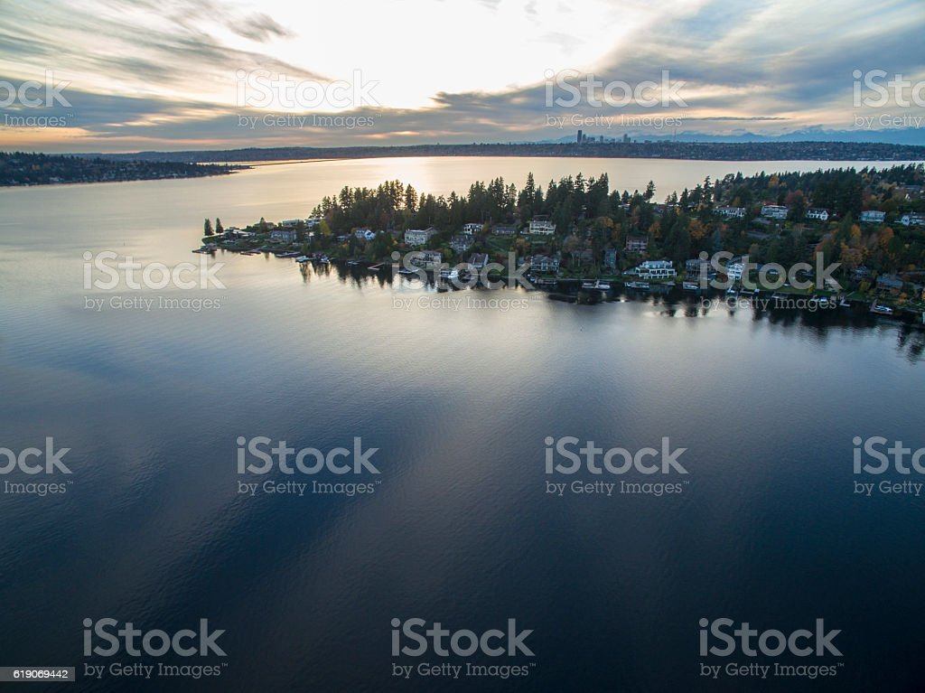Groat Point Medina Washington Seattle Cityscape Background 스톡 사진