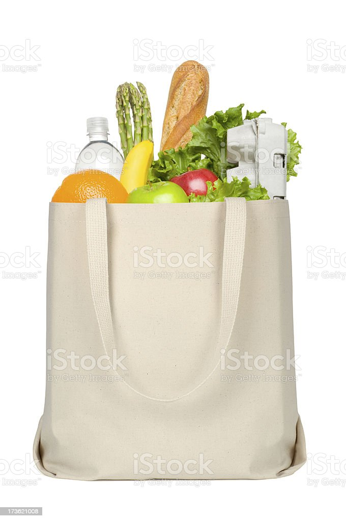 Groceries in Canvas Tote stock photo