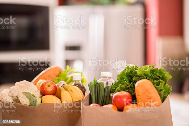Groceries in paper bags on counter in home kitchen picture id507880268?b=1&k=6&m=507880268&s=612x612&h=mpehy9l 0rt7ivlq 7ayeodoc25olvbwxqlcv4tycyu=