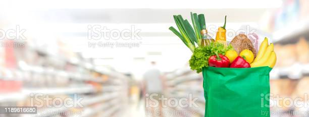 Groceries in reusable green shopping bag on supermarket banner picture id1189616680?b=1&k=6&m=1189616680&s=612x612&h= ssaizqz  zf gkwqbz1psxt25eddbffefwardrocoi=