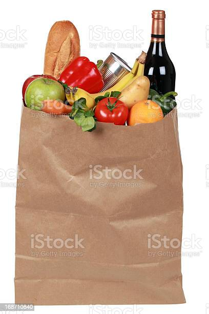 Groceries Including Fruits Vegetables And A Wine Bottle Stock Photo - Download Image Now