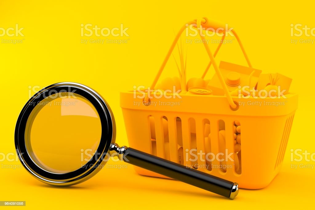 Grocery background with magnifying glass - Royalty-free Analyzing Stock Photo