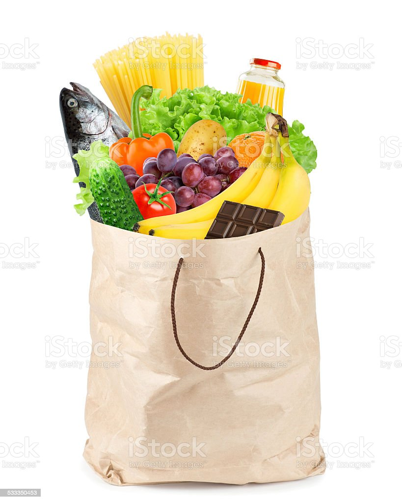 Grocery bag with healthy food stock photo