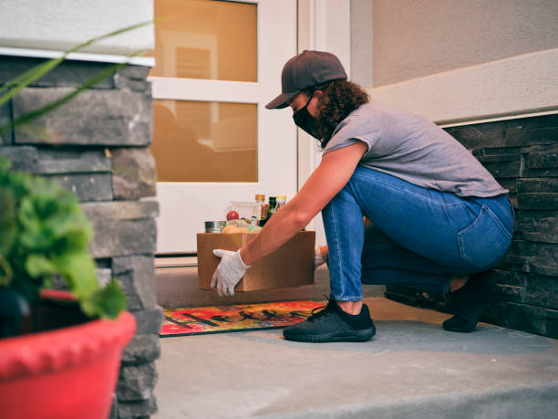Grocery Delivery Person stock photo