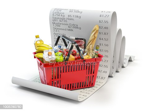 istock Grocery expenses budget  and consumerism concept. Shopping basket with foods on the receipt isolated on white. 1005290782