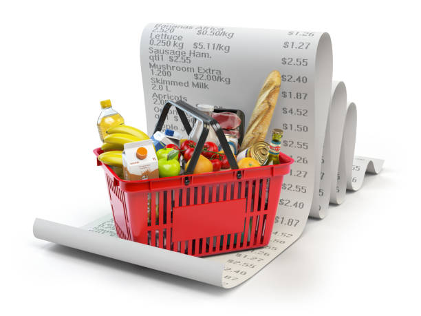 Grocery expenses budget  and consumerism concept. Shopping basket with foods on the receipt isolated on white. stock photo