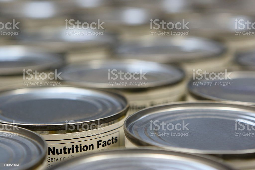 Grocery Food Can Supermarket Nutrition Label royalty-free stock photo
