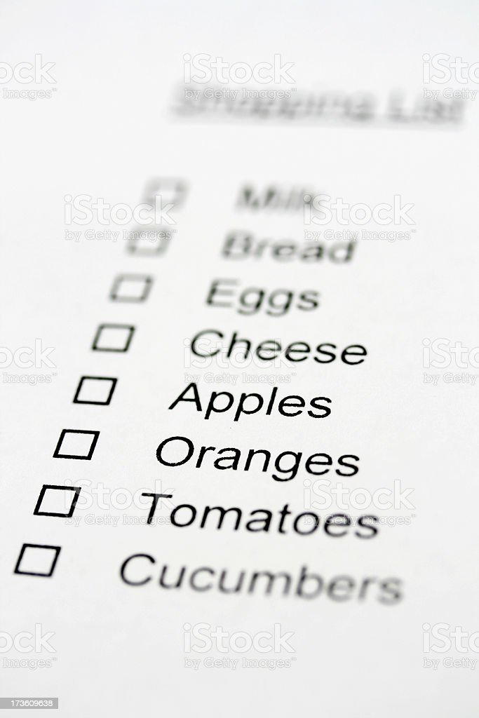 Grocery List stock photo