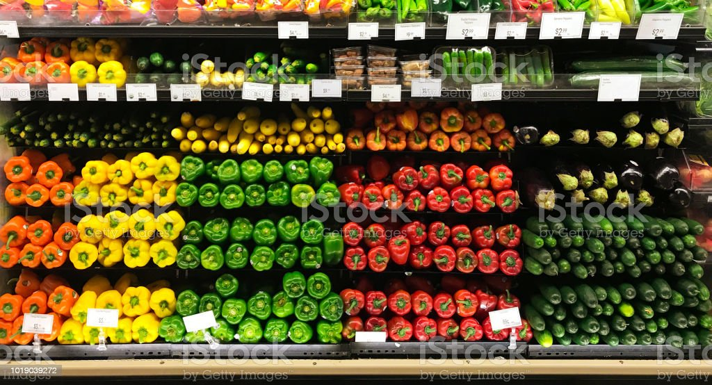 Grocery Market Store Display Of Fresh Produce Vegetable In