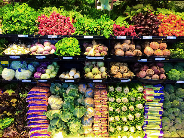 Grocery Produce Display in Supermarket Store Refrigerator stock photo