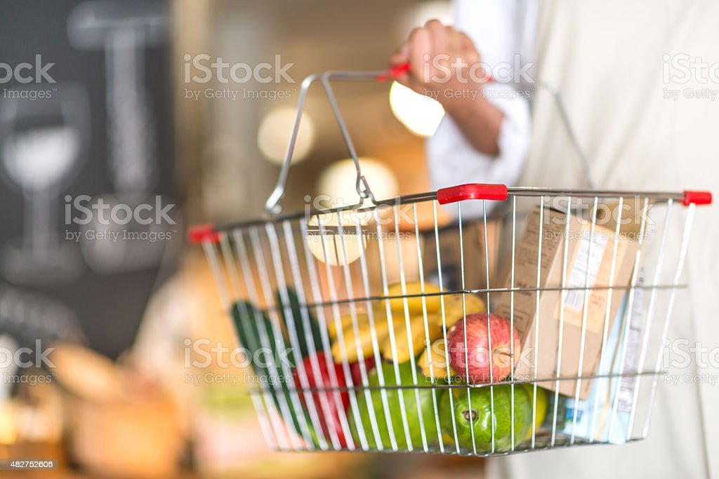 Grocery shopping at the supermarket stock photo