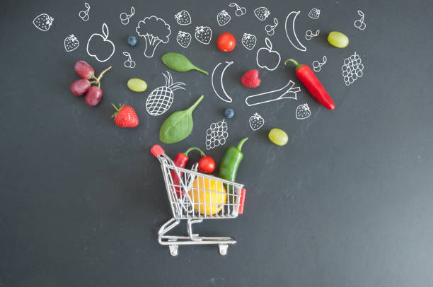 grocery shopping cart concept - icona supermercato foto e immagini stock