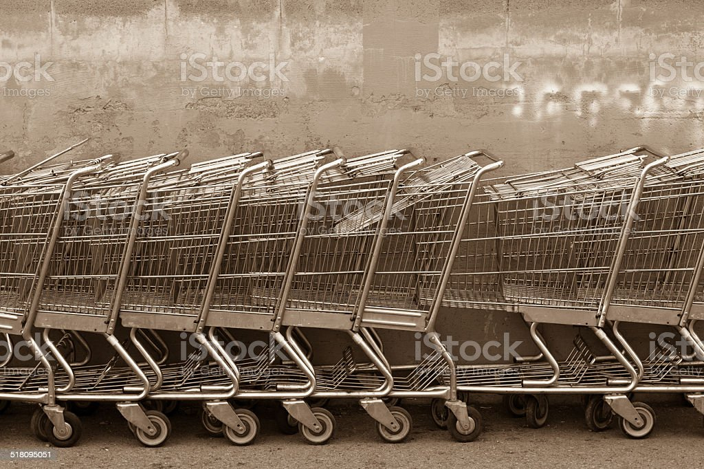 Grocery Shopping Carts in Sepia stock photo